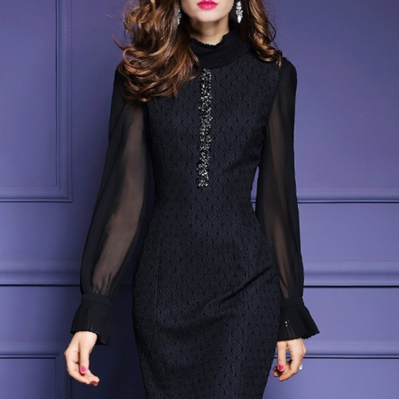 Metisu Dresses Black Long Sleeve Knee Length Dress Poshmark